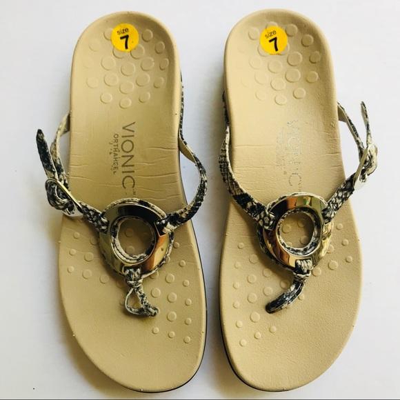 7ed809058aa VIONIC Orthaheel Karina Snake O-ring Thong Sandals